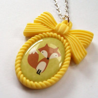 Fox Necklace Kawaii Yellow Cameo Necklace by KitschBitchJewellery