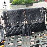 2016 Engerri Rivets Small Fold Over Bag  Women Messenger bags Leather Crossbody Shoulder bags Handbags Purses Diamond Lattice