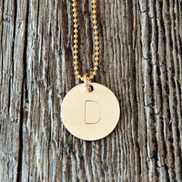 One Initial Large Monogram Necklace in Gold