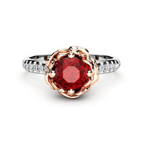 0.50Ct Ruby Engagement Ring Unique 14K Two Tone Gold Ring Flower Engagement Ring July Birthstone