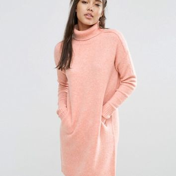 ASOS LOUNGE Jumper Dress in Cocoon Shape with High Neck at asos.com
