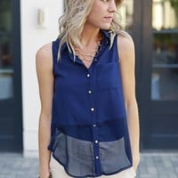 Sleeveless Collared Blouse - Rebecca Sleeveless Collar Blouse - $64 | Hand In Pocket Boutique