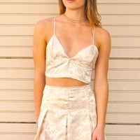 Bralette - Champagne Satin with Roses - purrrshop