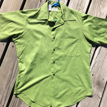 Vintage / Retro/ Mad Men/ Men's Olive Green 50-60's Short Sleeved Shirt Hampshire House Van Heusen