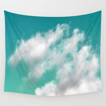 Mint Sky 3 - Wall Tapestry, Decorative White Cloud Decor Throw Cover, Bohemian Hippie Chic Home Accent Hanging. In 51x60 / 68x80 / 88x104