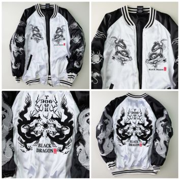 Japanese Vintage DOGTOWN Punk Rock Swag KPOP Black Dragon Tattoo Art Souvenir Sukajan Jacket