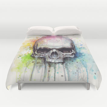 Skull Watercolor Painting Duvet Cover by Olechka
