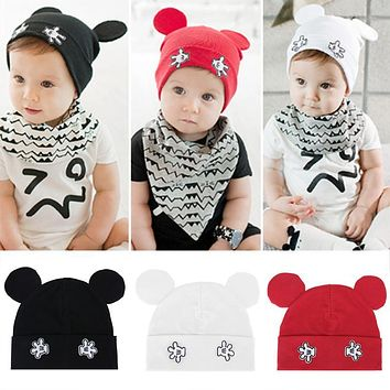 Fashion Baby Hats Winter Newborn Cartoon Flanging Knitted Hats Lovely Mouse Shape Kids Boy Girls Soft Warm Beanie Caps