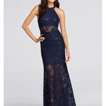 Halter Lace Prom Dress with Illusion Waist - Davids Bridal