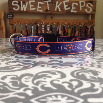 Dog Collar Made from Chicago Bears Inspired Ribbon