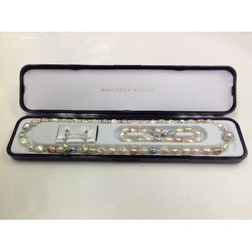 """Lead-free Glass Baroque Pearl Necklace(18""""), Bracelet and Lever-Back Earrings Set Pastel Multi-color in Gift Box"""