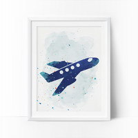 Plane Prints, Plane Nursery Art, Transportation wall art, Boys Nursery Printable, Watercolor Art, Navy Blue, Mint Nursery Art