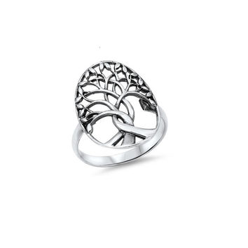 Tree of Life Wiccan Ring 7MM Sterling Silver 925