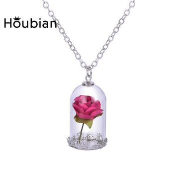 Rose Pendant Necklace  Classical Glass Vial Flowers
