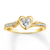 Diamond Promise Ring 1/8 ct tw Round-cut 10K Yellow Gold