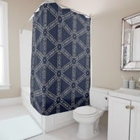 Navy Blue Words Geometrical Pattern Shower Curtain