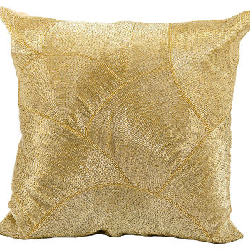 Scalloped 20x20 Beaded Pillow, Gold, Decorative Pillows