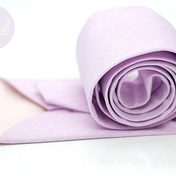 lilac lavender tie,pale purple violet ties,pastel wedding neck tie,groom,groomsmen,men,lavender theme wedding party,cotton linen chambray