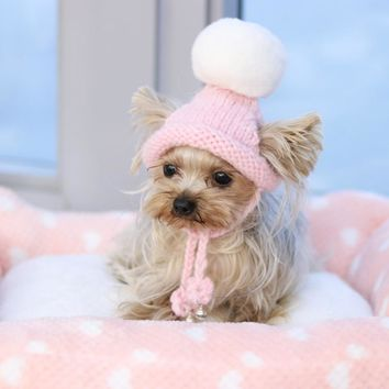 Handmade Pink Ring Bells Knitted Kawaii Pets Store Warm  Lovely Dog Hats for Small Pets Cats Maltese Yorkie Winter Cap