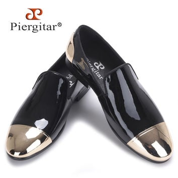 new Black and White Patent Leather men Handmade shoes Party and Wedding men dress shoes Plus size men's loafers