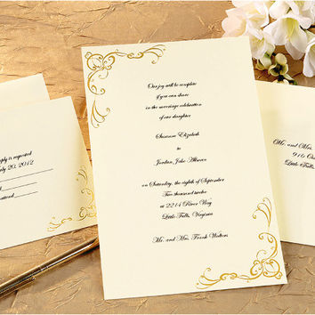 scrollwork gold invitation kit - 50 pack