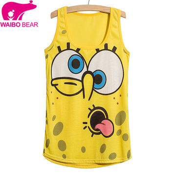 2016 Summer style cartoon Cami Spongebob print t shirt yellow Tank Top Cute Tanks women women's sleeveless Sport tee shirts
