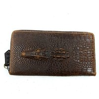 Vere Gloria Fashion Mens Genuine Leather Wallet Crocodile Multicam Long Money Purse