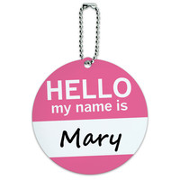 Mary Hello My Name Is Round ID Card Luggage Tag