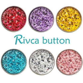 D02253 Hot Wholesale 7color Shimmer Resin 18mm Snap Button Bracelets For Women Rivca 18mm Snap Button Jewelry