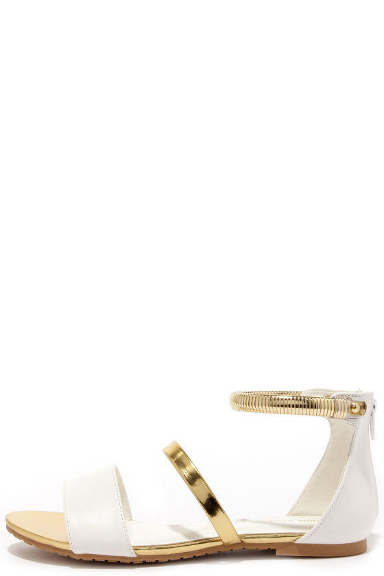 a51fb0825 Niled It White and Gold Flat Sandals from Lulu s