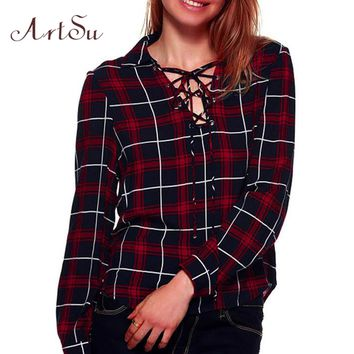 ArtSu Fashion Plaid Blouse Women Casual Bandage Shirt Long Sleeve Classic Blouses blusas Elegant Slim Shirts Clothing ASBL50002