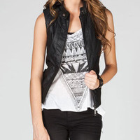 Therapy Womens Hooded Faux Leather Vest Black  In Sizes