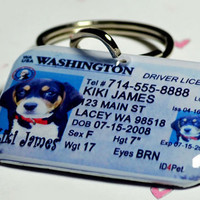 Custom Pet ID Tag Washington Driver License - Double Sided