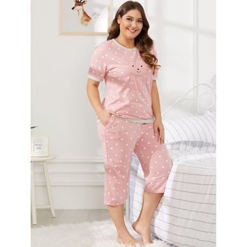 Bear Pattern Polka Dot Pajama Set