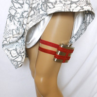 Flask Garter  WITH 4oz Flask   Deep Red  Fun by GartersByLori