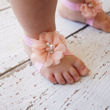 barefoot sandals- ivory baby barefoot sandals- girls flower sandals - baby flower sandals- flower girl sandals- baby shoes- girl sandals