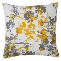 Threshold Print Pillow with Button - Gray/Yellow
