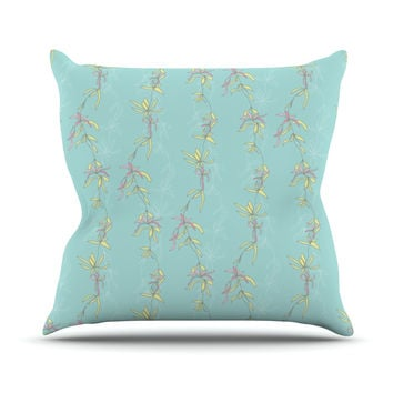 "Emma Frances ""Falling Florals"" Blue Aqua Throw Pillow"