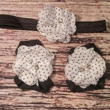 White with Black Polka Dots Rhinestone and Pearl Chiffon Headband and Barefoot Sandal