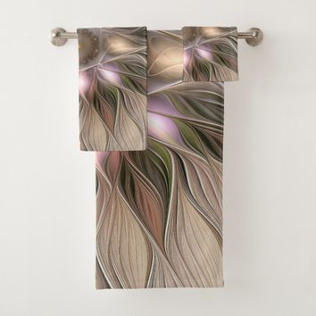 Joyful Flower Abstract Beige Brown Floral Fractal Bath Towel Set