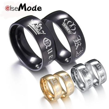 ELSEMODE 1Piece Titanium Vintage King Queen DIY Engraved Couple Ring Romantic Engagement Wedding Rings For Men Women Jewelry