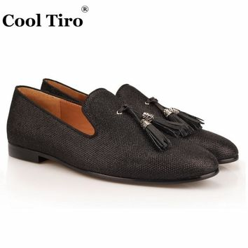 COOL TIRO  Leather Men Flats tassel Shoes Luxury Black squares New Handmade Loafers