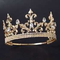 Snuoy Full Circle Men's Crown Imperial Medieval Tiara Fleur De Lis Gold King Crown Pageant Party Prom Accessories ping