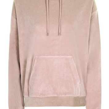 Oversized Velvet Hoodie - Tops - Clothing