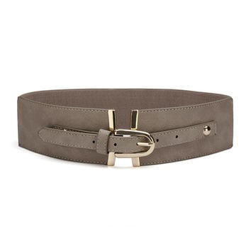 Tan Wide Elastic Waist Belt