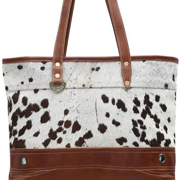 Myra Bag Genuine Leather & Faux Cowhide Tote S-0806
