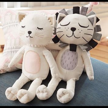 INS Cute Cat And Lion Pillow Stuffed Toy Soft Plush For Car Seat 33cmx16cm Best Sell