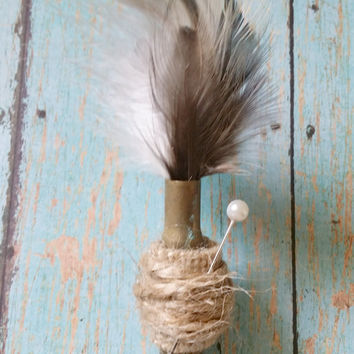 Bullet Boutonniere / Feather Boutonniere / Country Chic Wedding / Rustic Boutonniere / Hunting Wedding / Groom Boutonniere