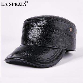 LA SPEZIA Black Military Cap Men Genuine Leather Cowhide Vintage Army Hats Male Classic Winter Adjustable Retro Flat Top Caps