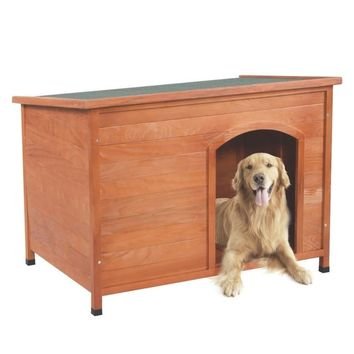 Tenozek Wood Pet Dog House Shelter Large Kennel Weather Resistant Wood Room In/Outdoor Raised Roof Balcony Shelter L -US stock
